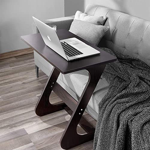 Sofa Side Table End Table TV Tray Z-Shape Snack Laptop Desk Couch Side Table Movable Stand in Living Room for Eating Working Writing, Black, 29.5 x 15.7 x 28.3 in
