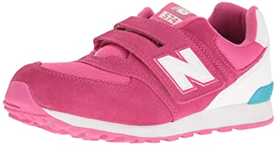 buy popular 8fec4 08e87 New Balance 574 Hook and Loop High Visibility, Baskets Basses Mixte Enfant,  Rose (