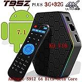 [2018 New Version]Kodi 17.6 Android T95Z TV Box + 3G RAM+32G ROM Android 7.1.2 Bluetooth Streaming Media Player UHD 4K /64Bit/Amlogic S912 8 Core+ Mini Wireless Keyboard
