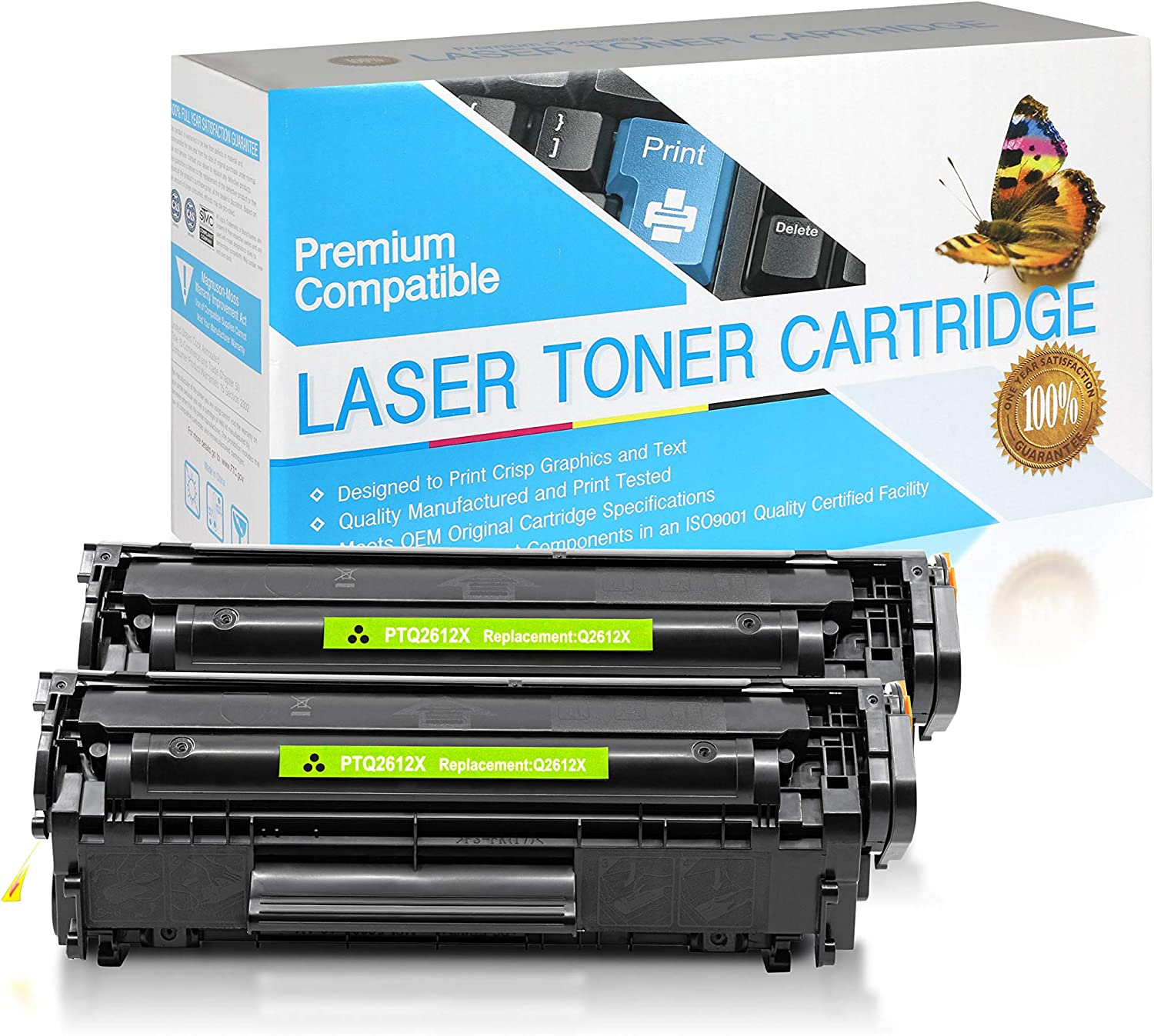 SuppliesOutlet Compatible Toner Cartridge Replacement for HP 12X Black,2 Pack Q2612X