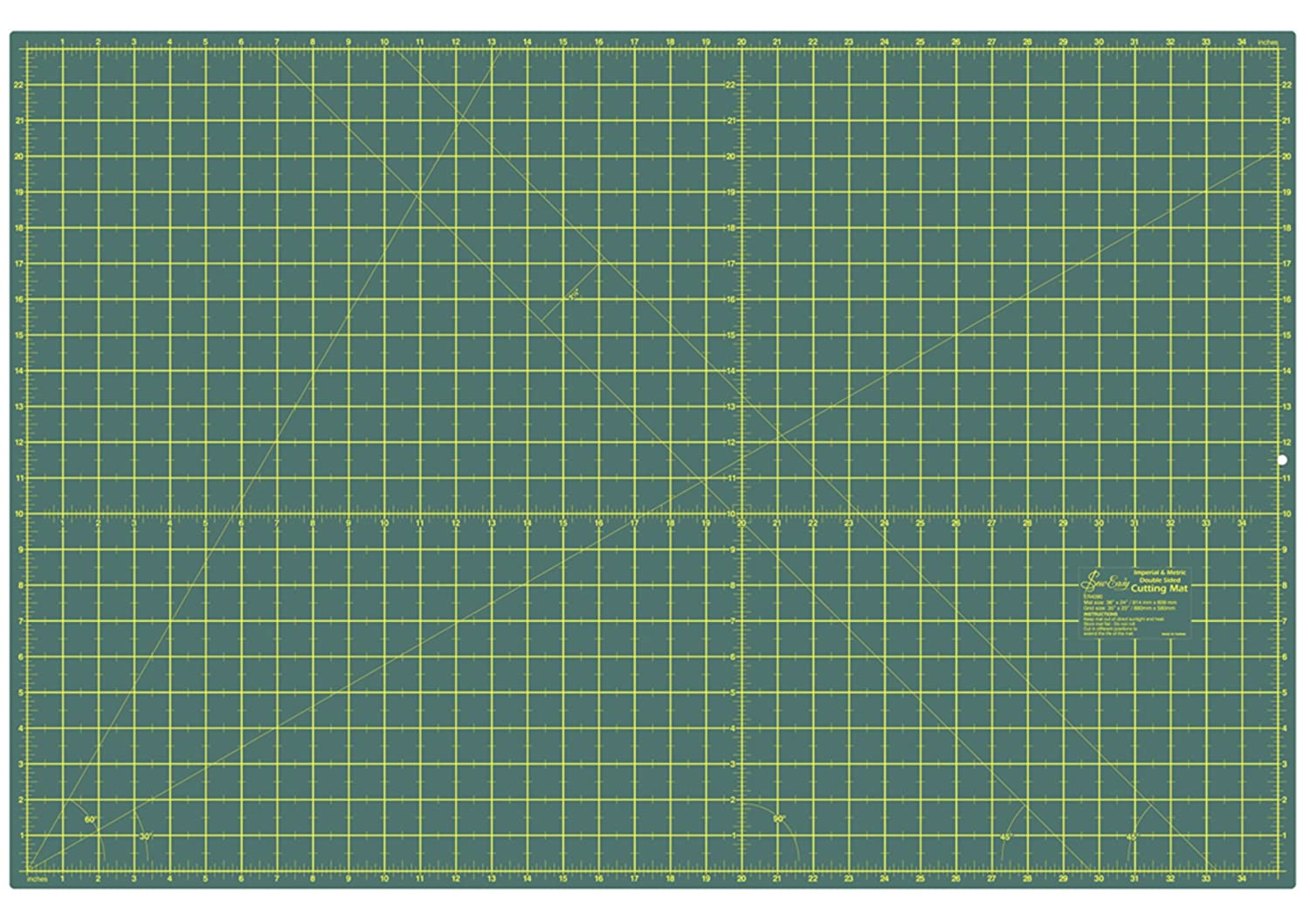 Sew Easy ER4090 Self-Healing 2-Sided Cutting Mat Imperial/Metric Grid 900x600mm Groves