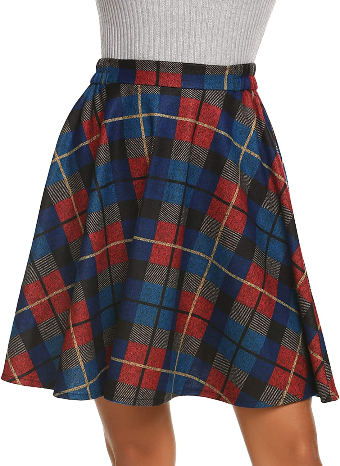 Hotouch Women's Plaid Flared Skirt A-Line High Elastic Tartan Pleated Winter Warm Wool Skirts Short