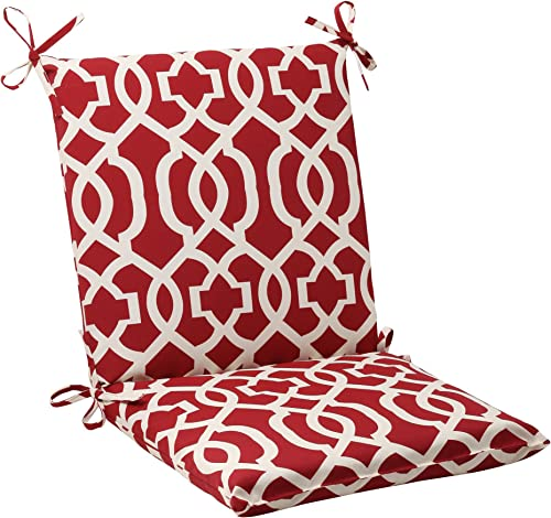 Pillow Perfect Outdoor Indoor New Geo Square Corner Chair Cushion, 36.5 x 18 , Red