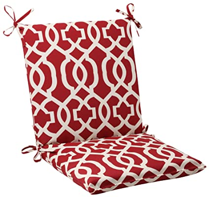 Superbe Pillow Perfect Indoor/Outdoor New Geo Squared Chair Cushion, Red