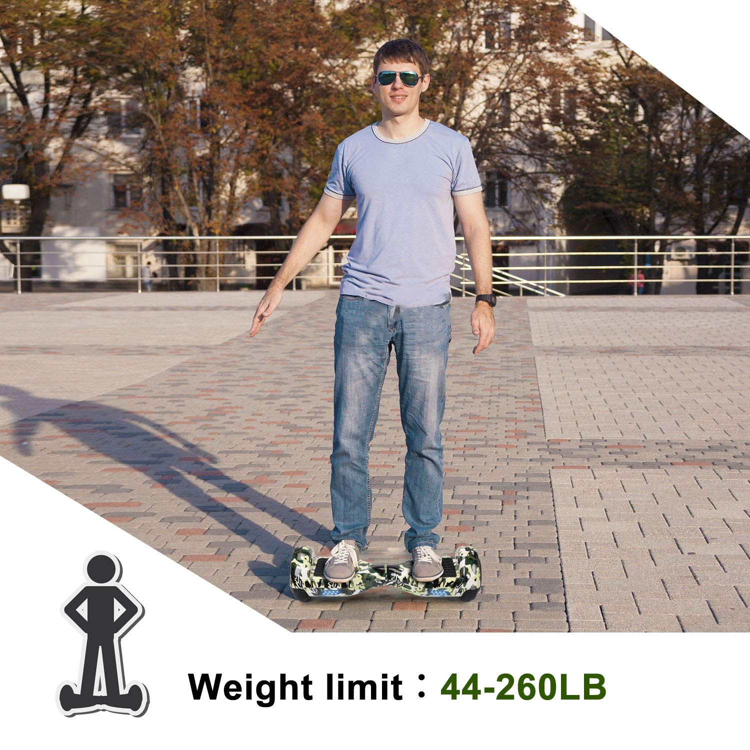 SISIGAD Hoverboard Self Balancing Scooter 6.5'' Two-Wheel Self Balancing Hoverboard with LED Lights Electric Scooter for Adult Kids Gift UL 2272 Certified Fun Edition - Woodland Camo by SISIGAD (Image #6)