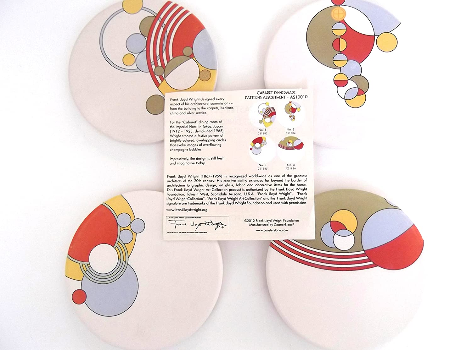 Amazon.com  Frank Lloyd Wright CABARET DINNERWARE PATTERN Set of 4 Absorbent COASTERS  Other Products  Everything Else  sc 1 st  Amazon.com & Amazon.com : Frank Lloyd Wright CABARET DINNERWARE PATTERN Set of 4 ...