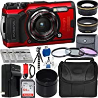 Olympus Tough TG-6 Digital Camera with Deluxe Accessory Bundle – Includes: SanDisk Ultra 64GB SDXC Memory Card + 2X Spare Batteries with Charger + Flexible Gripster + Adapter Tube + More (Red)