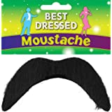 Black Fake Moustache - Disco, 118, Mexican, Mario - Fancy Dress Accessory