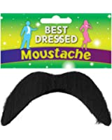 Black Fake Moustache - Disco, 118, Mexican, Mario - Fancy Dress Accessory