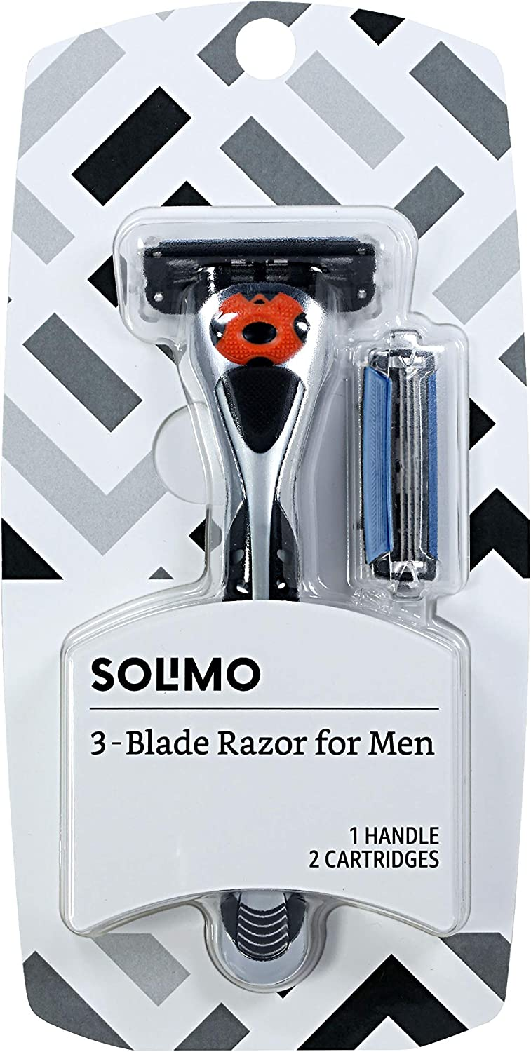 Amazon Brand - Solimo 3-Blade MotionSphere Razor for Men with Dual Lubrication, Handle & 2 Cartridges (Cartridges fit Solimo Razor Handles only)
