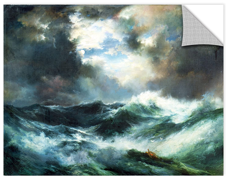 ArtWall 1tmo001a3648p Thomas Morans Moonlit Shipwreck at Sea 1901 Removable Wall Art Mural 36 x 48