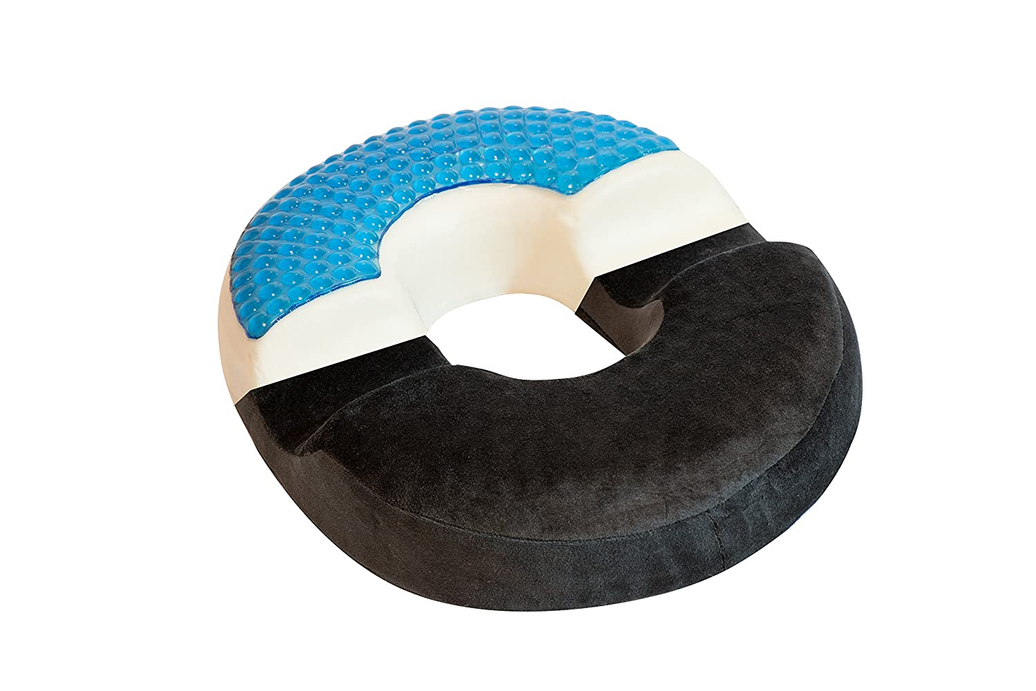 Large bonmedico Orthopedic Ring Cushion Made From Memory Foam, Donut Cushion For Relief Of Haemorrhoids (Piles) And Coccyx Pain, Suitable For Wheelchair, Car Seat, Home Or Office, Black bonstato GmbH