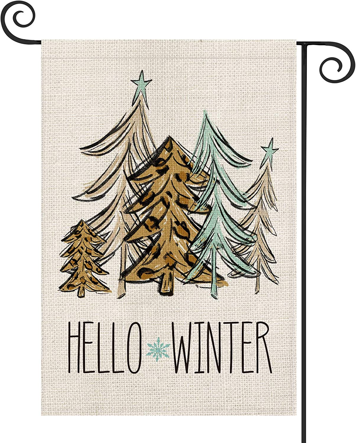 AVOIN Hello Winter Leopard Hand Draw Christmas Tree Garden Flag Vertical Double Sized, Holiday Star Snowflake Yard Outdoor Decoration 12.5 x 18 Inch