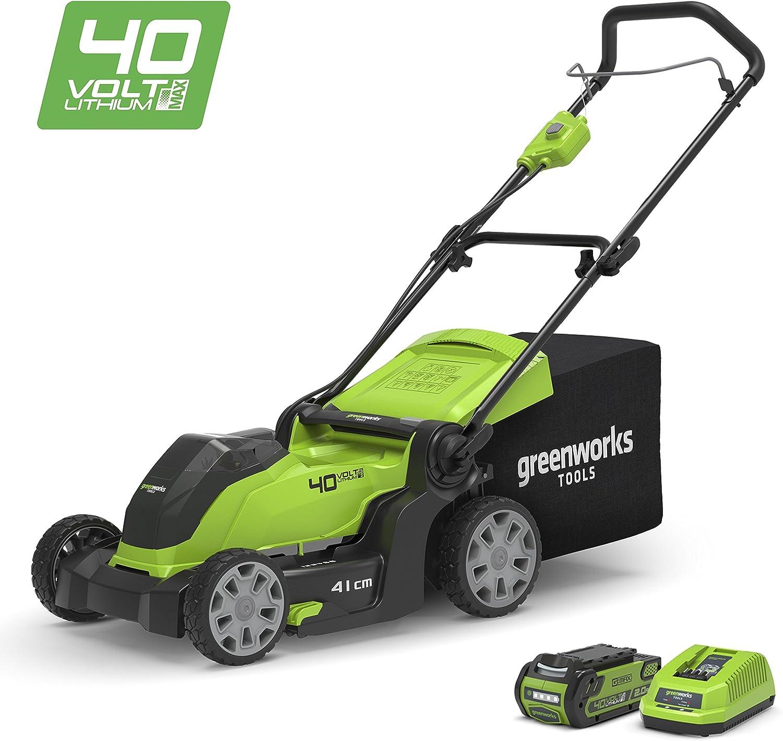 Greenworks Tools 2504707UA Cortacésped Inalámbrico, 40 V, Verde