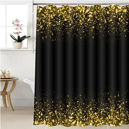 Gzhihine Shower Curtain Gold Sparkle Glitter Background Stars Sparkling Flow Bathroom Accessories 60