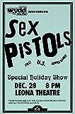 Sex Pistols 1977 Live First U.S. Tour Leona Theatre Retro Art Print — Poster Size — Print of Retro Concert Poster — Features Johnny Rotten, Steve Jones, Glen Matlock, Sid Vicious and Paul Cook .