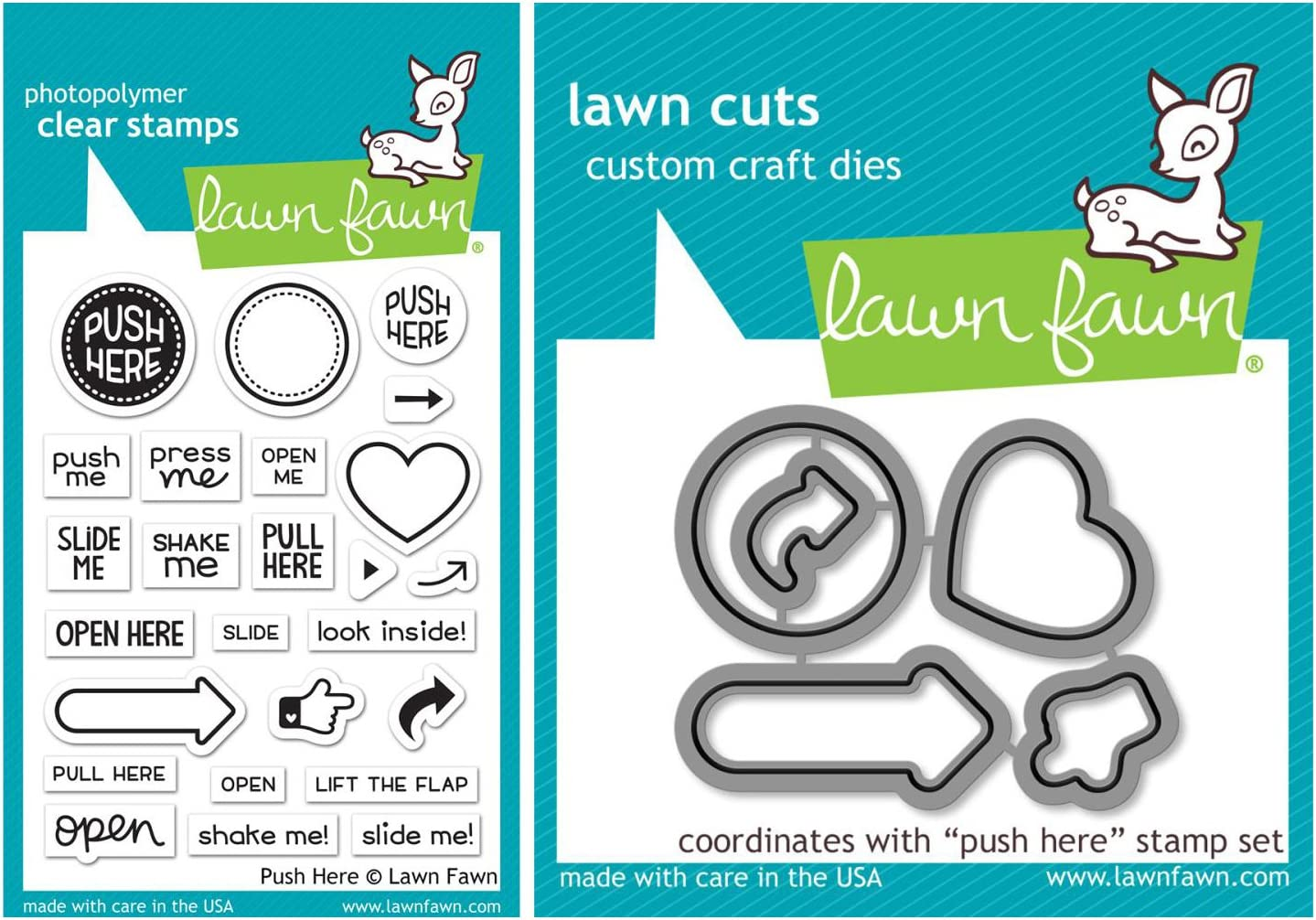 clear stamp Lawn Fawn push here
