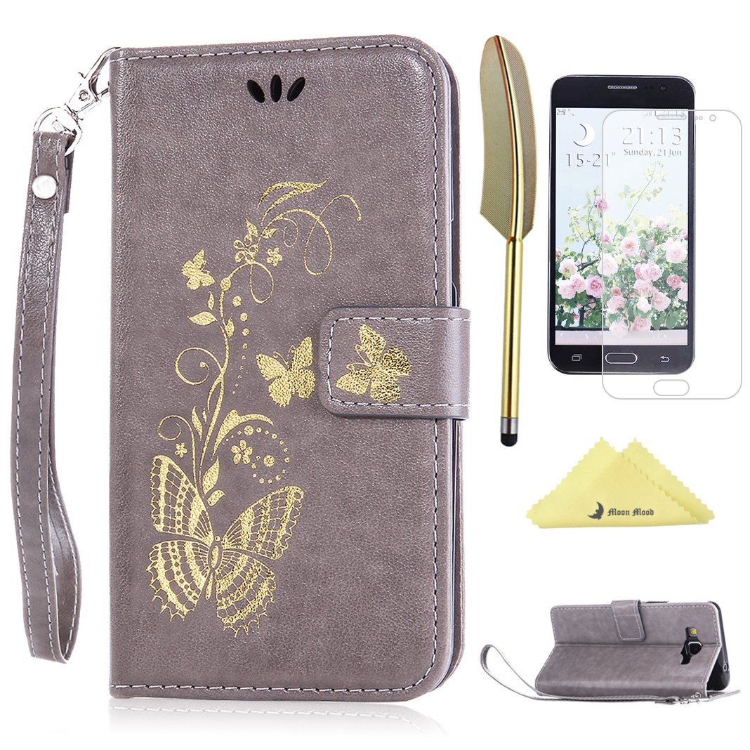 Galaxy Grand Prime GF G Fundas Moon mood® Mariposa Gris PU Cuero
