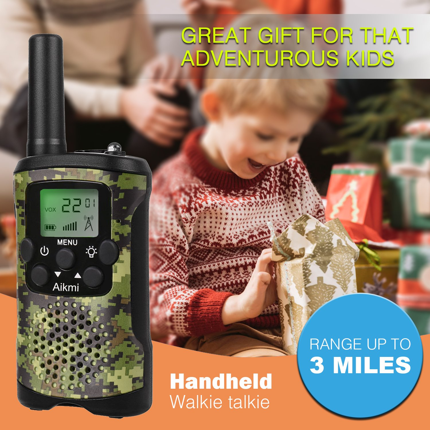 Walkie Talkies for Kids 22 Channel 2 Way Radio 3 Miles Long Range Handheld Walkie Talkies Durable Toy Best Birthday Gifts for 6 year old Boys and Girls fit Outdoor Adventure Game Camping (Green Camo) by Aikmi (Image #2)