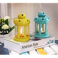 Tied Ribbons Tealight Holder Hanging Lantern Set of 2 (6 inch X 3.7 inch), Multicolour