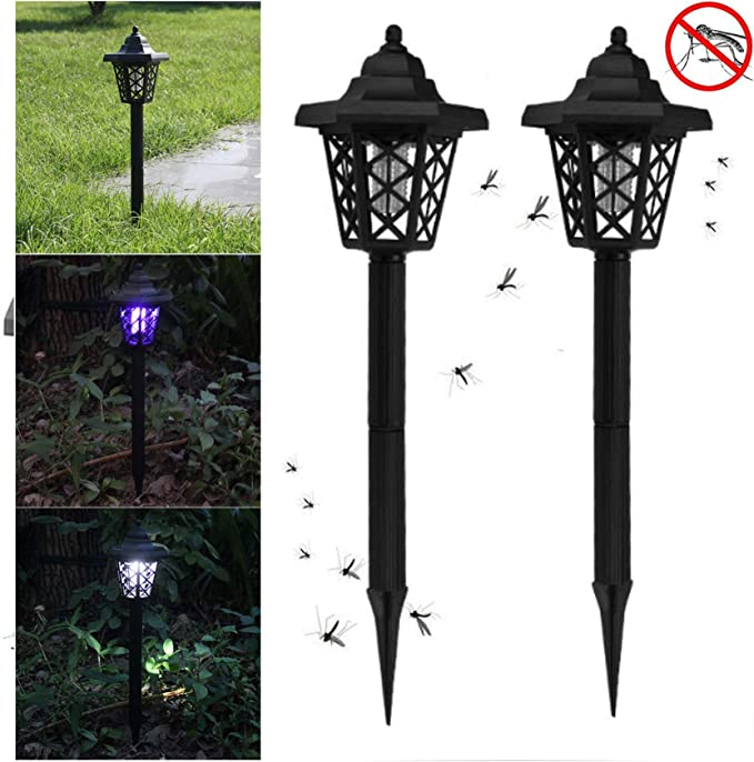 Tukear 2PC Solar Powered LED Light Bug Zapper Mosquito Insect Pest Killer Lamp Suit for Indoor Outdoor Home Garden Porch Patio Backyard