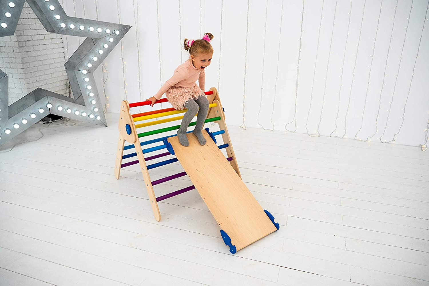 Woodandhearts Set of 3 Pikler Triangle for Kids Toddlers Rock with ramp Learning Waldorf Climbing Arch Toy for Toddler N.Wood+Rainbow Montessori Climber Ladder Slide Standard Size