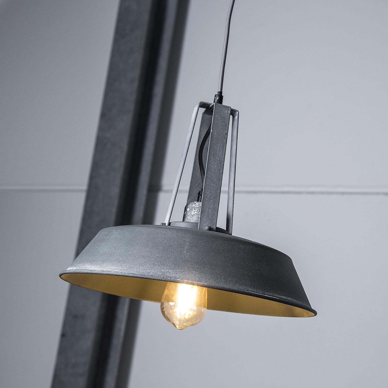 Vintage Pendelleuchte im Industrial Used-Look, H 115 cm, 1x E27 max. 60W, Metall, grau Beton