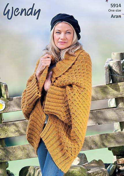 Wendy 5914 Knitting Pattern Ladies Shawl Collar Wrap In Wendy Cairn