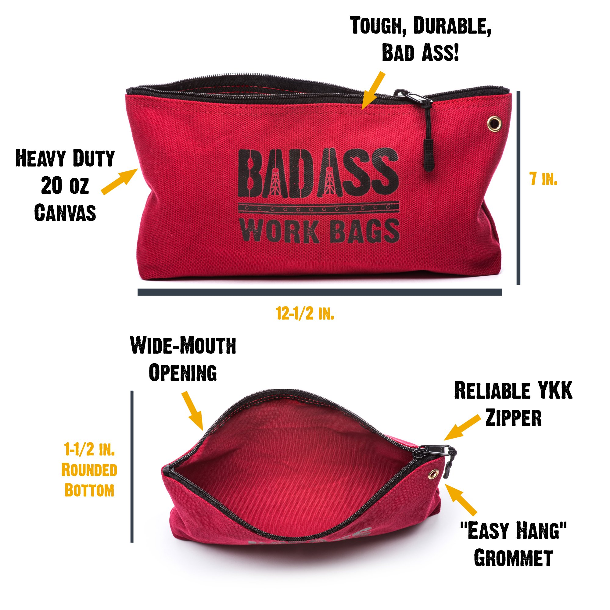 Bad Ass Work Gear   4-Pack of Heavy Duty 20 oz. Canvas Zipper Tool Bags in 4 colors   Toughest Utility Bag by Bad Ass Work Gear (Image #3)