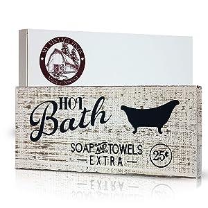 myVintageFinds Hot Bath Sign Rustic Decor Farmhouse Bathroom Wall Decor