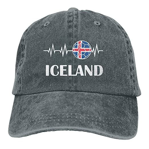 654af0b9f38 Men's Women's Soccer Heartbeat I Love Iceland Cotton Denim Baseball ...