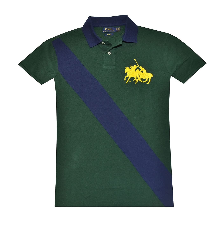 Polo Ralph Lauren Men Custom Fit Diagonal Stripe Double Pony Logo Shirt (S,  Northwest green/navy) at Amazon Men\u0027s Clothing store: