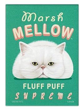 Diseño de gatos imanes de nevera - Marsh Mellow Marshmellow - publicidad arte: Amazon.es: Hogar