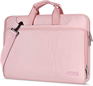 MOSISO 360 Protective Laptop Shoulder Bag Compatible with 13-13.3 inch MacBook Air, MacBook Pro, 13.5 Surface Laptop, Surface Book, Water Repellent Sleeve Case with Trolley Belt, Pink