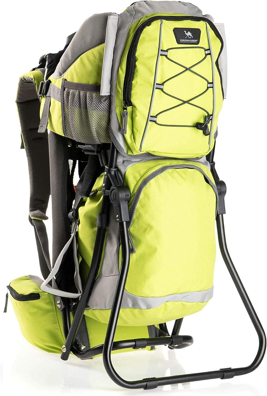 DROMADER Mochila Portabebé para Hacer Turismo Hippo | Peso del Bebé hasta 22 kg | Asiento cómodo regular | Sistema de Transporte 3D Opti-fit | Bolsillos Prácticos | Parasol | Verde Lima & Gris