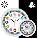 Cander Berlin MNU 5130 Kinderwanduhr (Ø) 30,5 cm Kinder Wanduhr mit lautlosem Uhrwerk und 5-Stufen-Zifferblattbeleuchtung (dimmbar) - Ablesen der Uhrzeit lernen