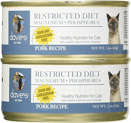 Dave S Restricted Magnesiumdiet, Pork Dinner For Cats, 5.5 Oz Can Case Of 24