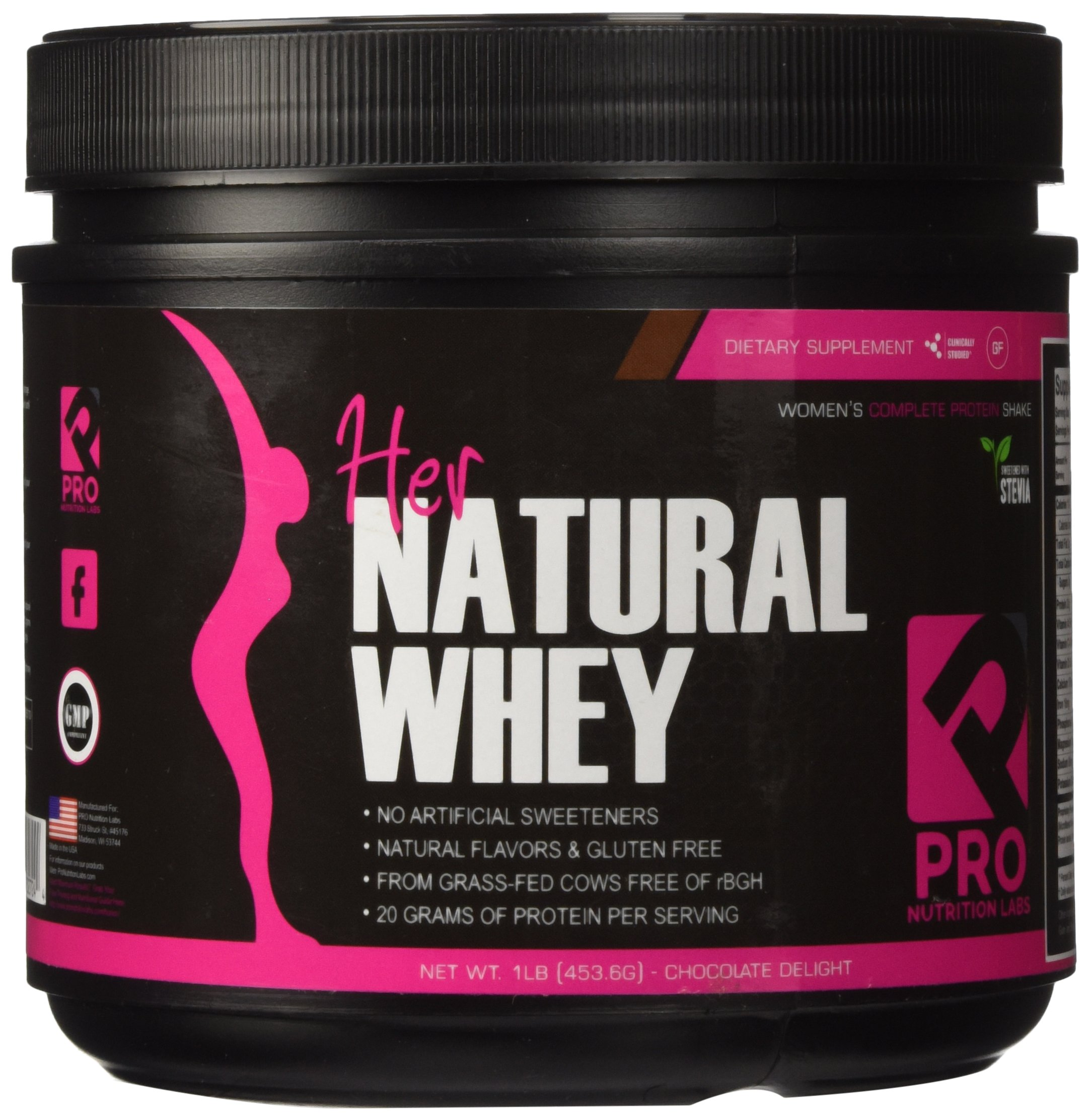 Protein Powder For Women - Her Natural Whey Protein Powder For Weight Loss & To Support Lean Muscle Mass - Low Carb - Gluten Free - rBGH Hormone Free - Naturally Sweetened with Stevia - Designed For Optimal Fat Loss (Chocolate Delight)- Net Wt. 1 LB by Pro Nutrition Labs (Image #2)