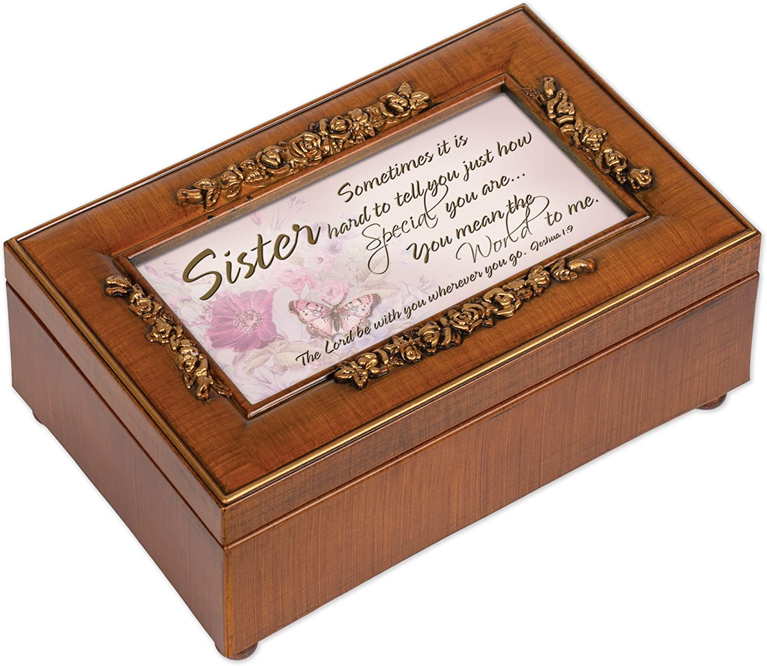 Cottage Garden You are Someone Special to Me Woodgrain Finish Tiny Round Music Box Plays Thats What Friends are for