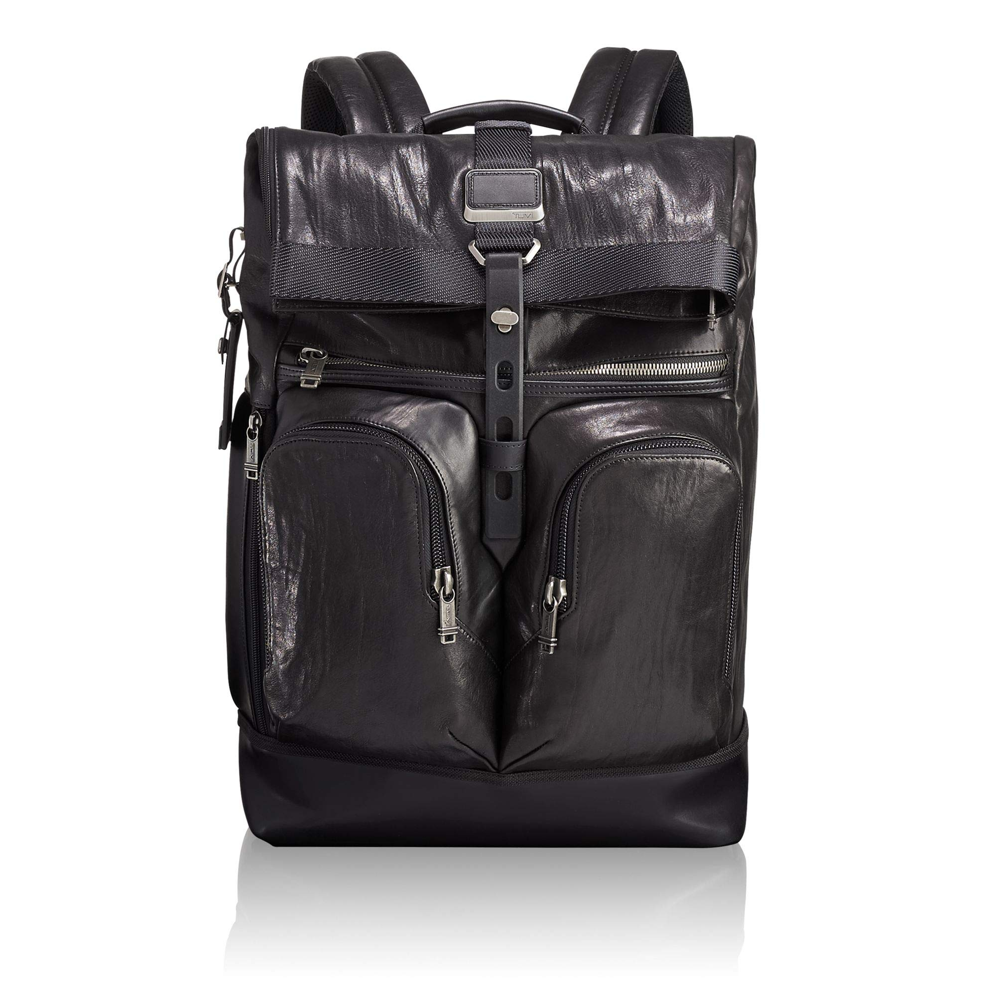TUMI Men's Alpha Bravo London Roll Top Leather Backpack, Black, One Size