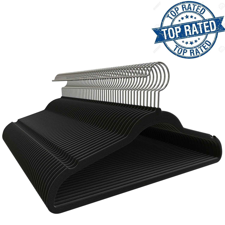 Premium Quality Velvet Hanger (Set of 50) - Ultra -Thin No Slip Velvet Suit Hangers - Swivel Hooks, Stronger Than Standard Velvet Hangers - Space ...