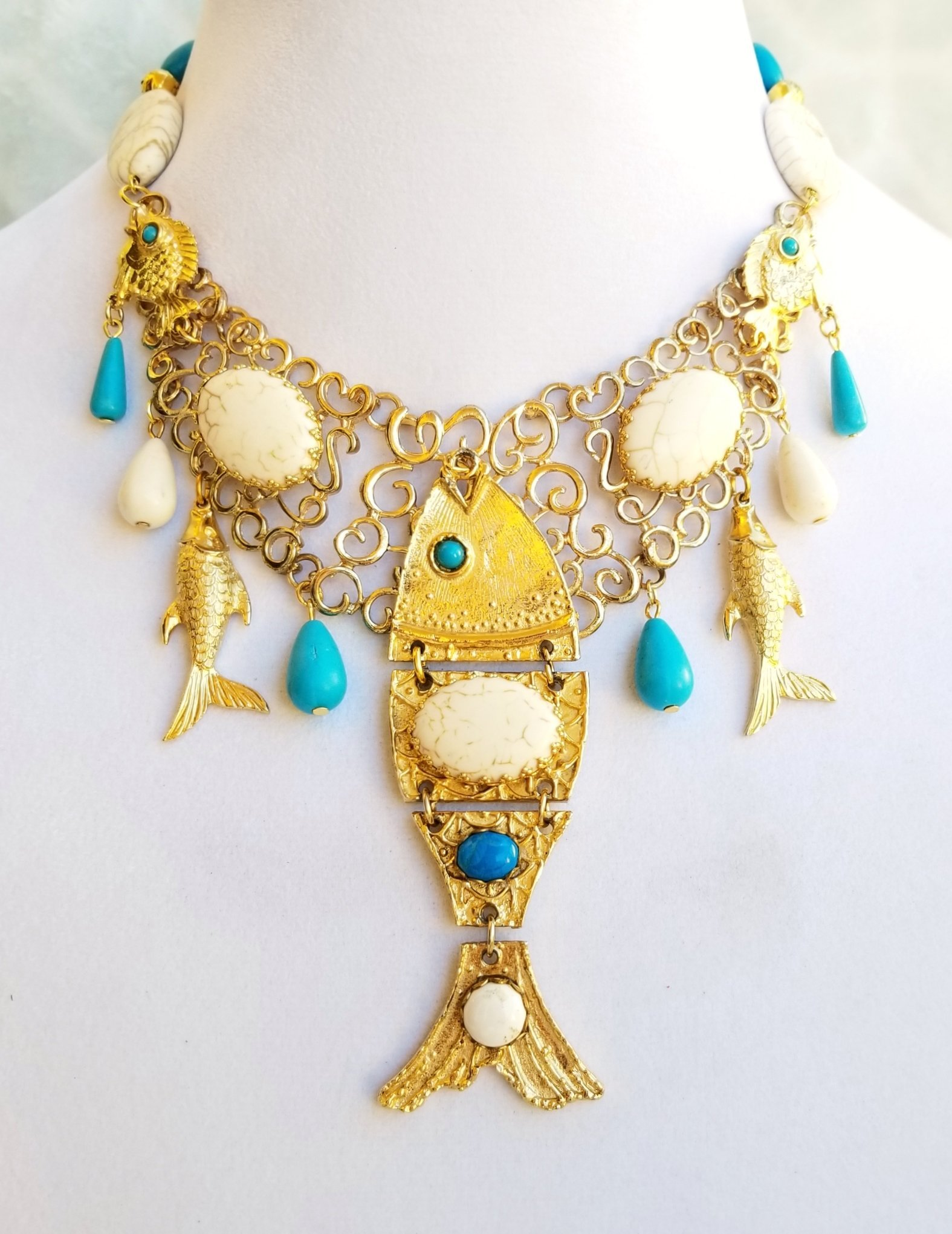 Turquoise Gold Vintage Fish Bib Necklace Earrings Bracelet One of a Kind