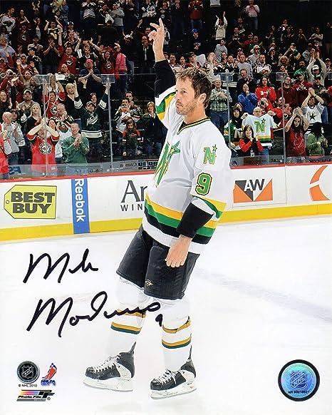 b783c1565de98 Mike Modano Signed Minnesota North Stars Waving To Crowd 8x10 Photo ...