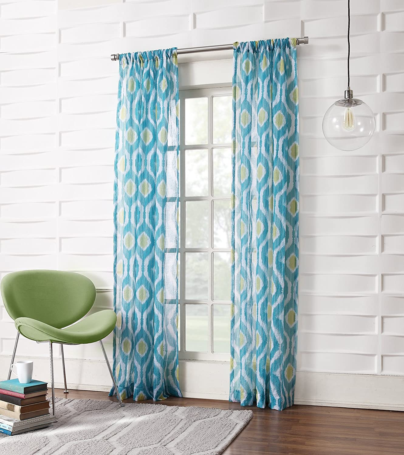 Maddox Ikat Crushed Sheer Voile Curtain Panel Marine Teal