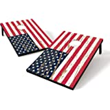Backyard Champs Corn Hole Outdoor Game USA Stars and Stripes: 2 Regulation MDF Cornhole Boards and 8 Bean Bags, 2 x 3 Foot