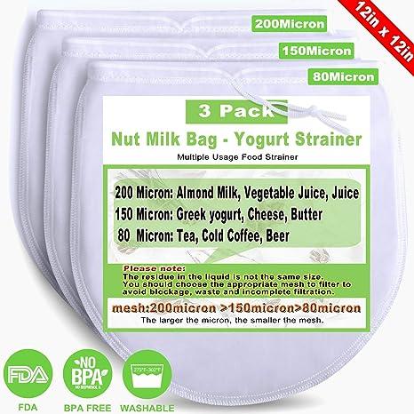 Amazon.com: Bolsa de leche de nuez reutilizable 3 bolsas de ...