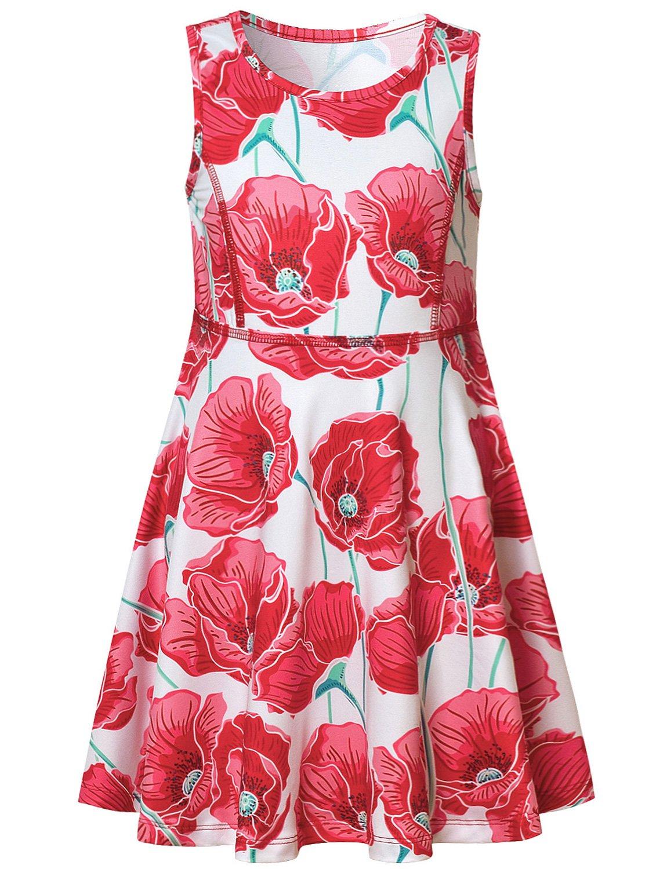 Girl Dresses Summer Floral Sun Red Flower Sleeveless Kid Dress Casual Cute Teen