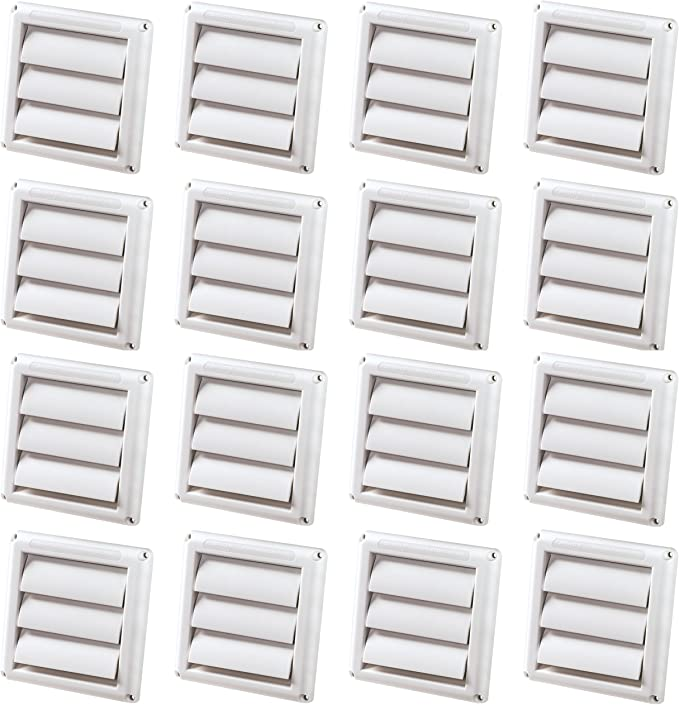 16 Pack Deflecto Supurr Vent Louvered Outdoor Dryer Vent Cover 4 Inches Hood White Hs4w 18 Appliances Amazon Com