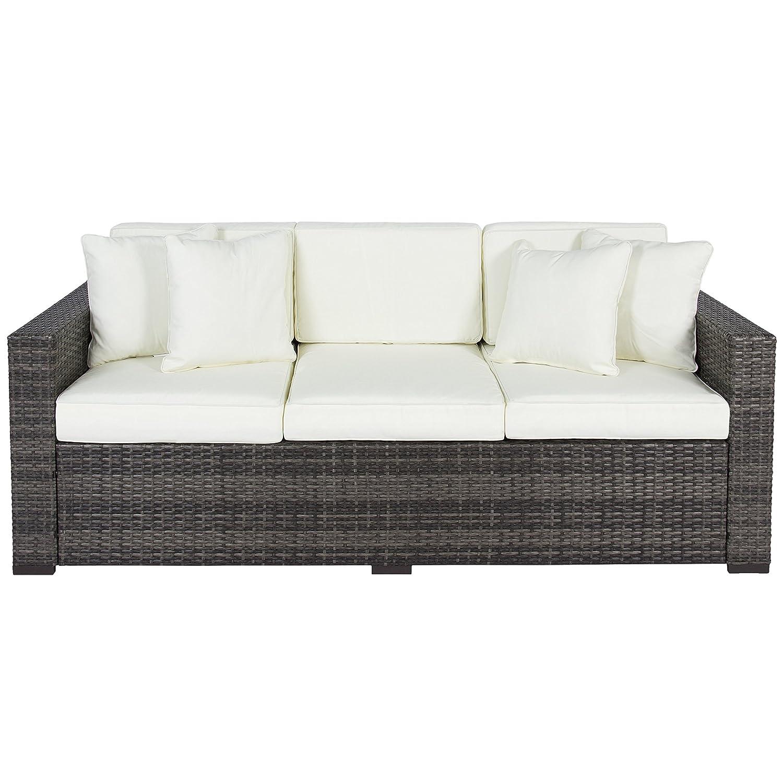 Amazon.com : Best Choice Products Outdoor Wicker Patio Furniture Sofa 3  Seater Luxury Comfort Grey Wicker Couch : Garden U0026 Outdoor