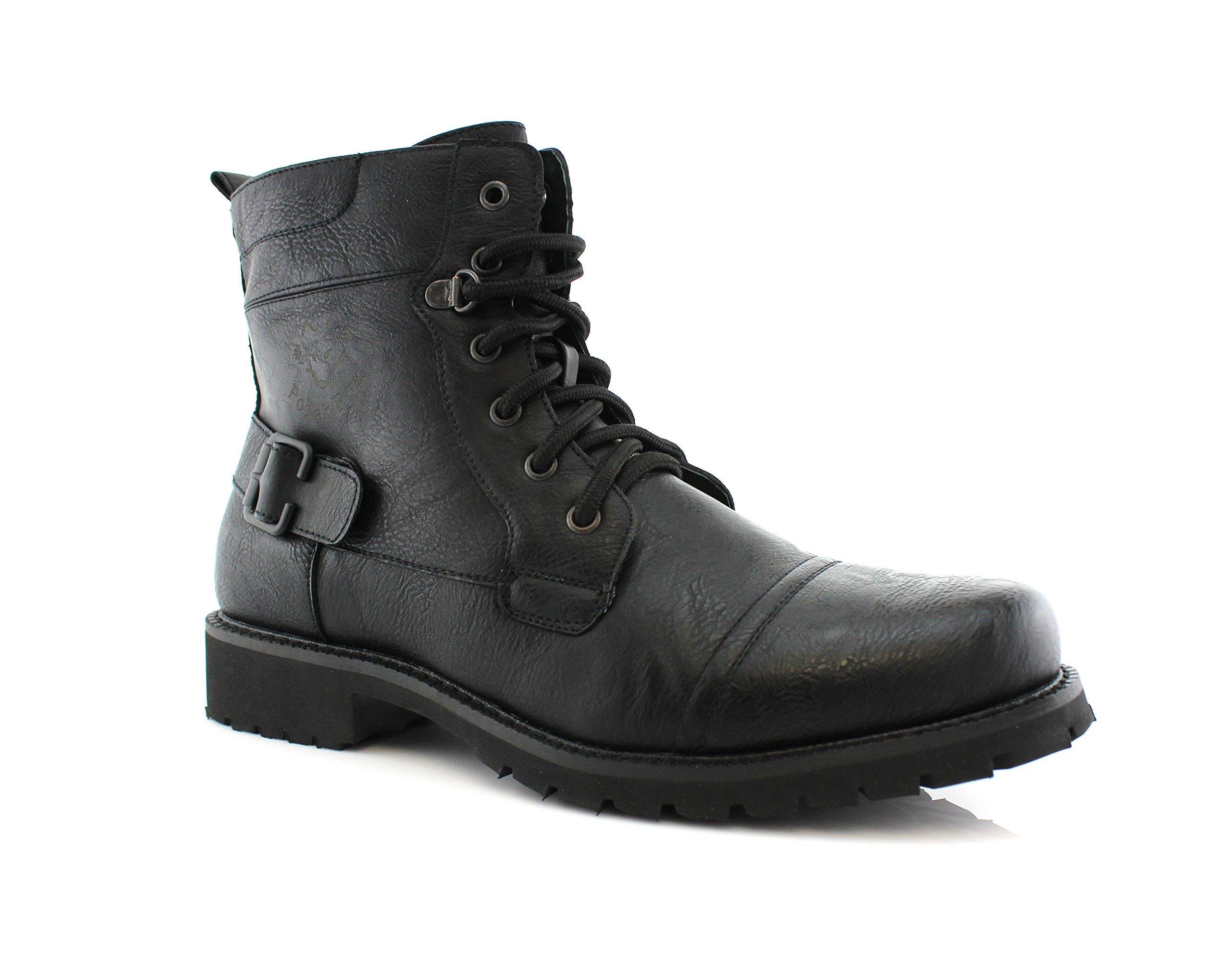 Polar Fox Fabian MPX808006 Mens Dress Work Motorcycle Combat Boots - Black, Size 9